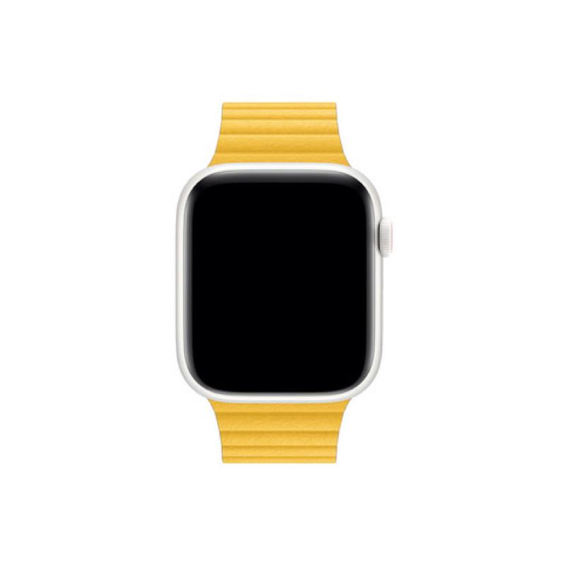 Apple Loop - Cinturino a maglie in pelle per Apple Watch - 42mm / 44mm - Meyer Lemon