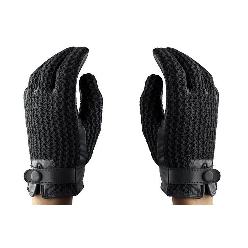 Mujjo Leather Crochet Touchscreen Gloves Size 8 (M)