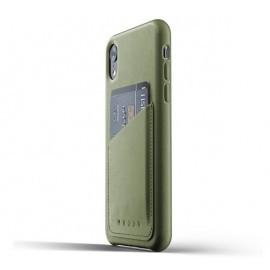 Mujjo Leather Wallet Case iPhone XR groen