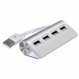 Casecentive Aluminium USB 2.0 hub 4 poorten zilver