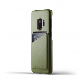 Mujjo Leather Wallet Case Galaxy S9 Olive