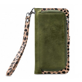 Mobilize 2in1 Gelly Wallet Zipper Case iPhone 11 Pro olijfgroen / leopard