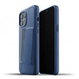 Mujjo Leather Wallet Case iPhone 12 Pro Max blauw