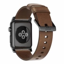 Nomad modern leren bandje Apple Watch 42 / 44 mm bruin / zwart