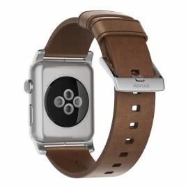 Nomad modern leren bandje Apple Watch 42 / 44 mm bruin / zilver